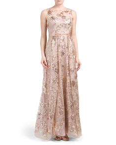 Sleeveless Illusion Floral Gown