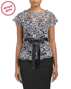 Floral Lace Top With Satin Bow