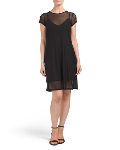 Juniors Mesh Dress With Slip