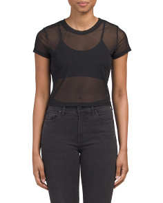 Juniors Short Sleeve Mesh Crop Top