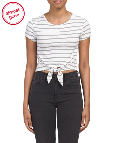 Juniors Short Sleeve Tie Front Crop Tee