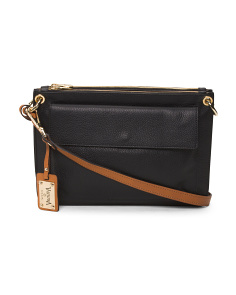 Made In Italy Leather Flap Front Crossbody