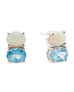 Made In India Sterling Silver Opal And Blue Topaz Earrings