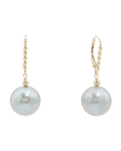 Made In USA 14k Gold Grey Pearl Drop Earrings
