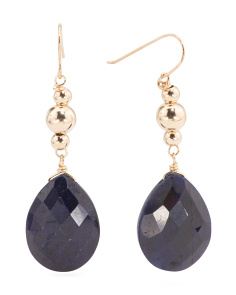 Made In USA 14k Gold Sapphire Drop Earrings