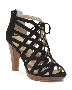 Lace Up Platform Cage Suede Shooties