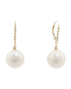 Made In USA 14k Gold Pearl Drop Leverback Earrings