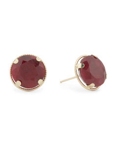 Made In USA 14k Gold Ruby Stud Earrings