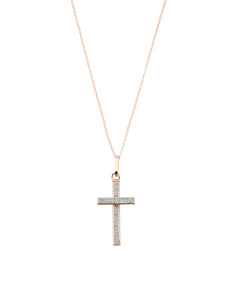 Made In Italy 14k Rose Gold Dust Cross Necklace
