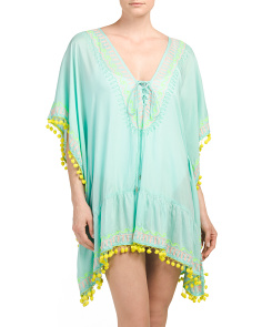 Lace Up Pom Pom Cover-up Tunic