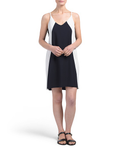 Juniors Sleeveless Colorblock Slip Dress