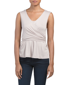 Juniors Sleeveless Convertible Knit Wrap Top