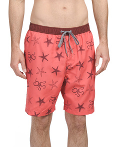 Starfish Print Swim Trunks