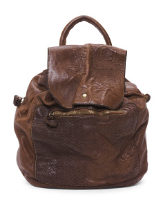 Made In Italy Woven Leather Backpack