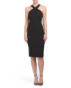 Cross Neck Sheath Dress