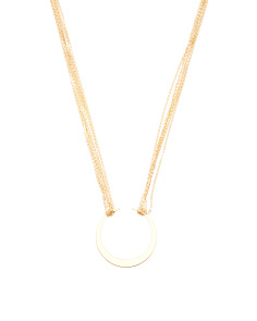 Made In Italy 14k Gold Multi-strand Open Crescent Necklace