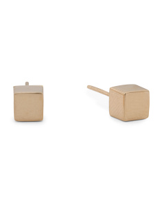 Made In Italy 14k Gold Polished Cube Stud Earrings