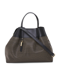 Made In Italy Perforated Leather Satchel