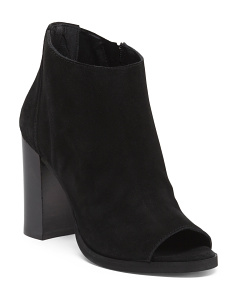 Made In Italy Peep Toe Suede Booties