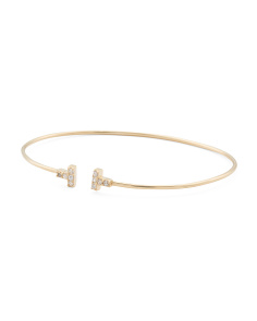 Made In USA 14k Gold Cubic Zirconia Bar Flex Open Bangle Bracelet