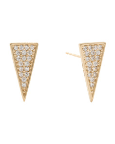 Made In USA 14k Gold Pave Cubic Zirconia Triangle Stud Earrings