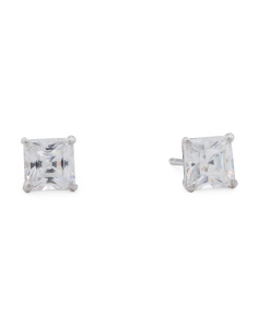 Made In USA 14k White Gold 4mm Radiant Cut CZ Stud Earrings