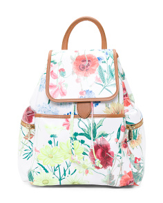 Made In Italy Floral Print Leather Backpack