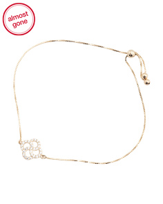Made In USA 14k Gold Cubic Zirconia Clover Adjustable Bracelet