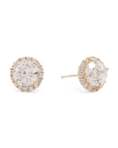 Made In USA 14k Gold Cubic Zirconia Round Halo Stud Earrings