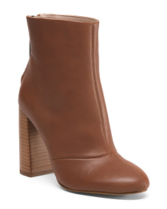 Stacked Heel Leather Booties