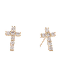 Made In USA 14k Gold Cubic Zirconia Cross Stud Earrings