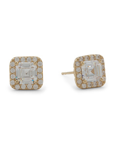 Made In USA 14k Gold Cubic Zirconia Halo Asscher Cut Stud Earrings