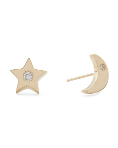 Made In USA 14k Gold Cubic Zirconia Moon Star Mismatched Stud Earrings