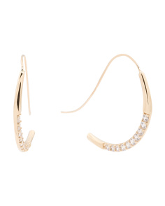 Made In USA 14k Gold Cubic Zirconia Oversized Hook Earrings