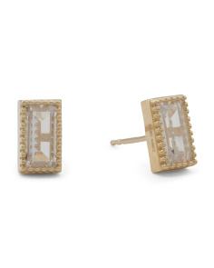Made In USA 14k Gold Cubic Zirconia Radiant Stud Earrings