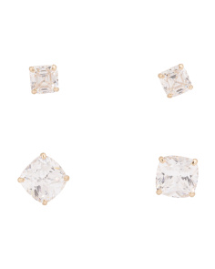 Made In USA 14k Gold Cubic Zirconia Set Of 2 Stud Earrings