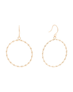 Made In USA 14k Gold Open Circle Earrings