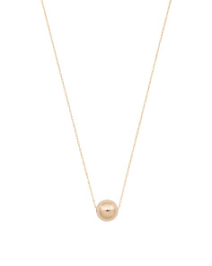 Made In USA 14k Gold 8mm Ball Slider Necklace
