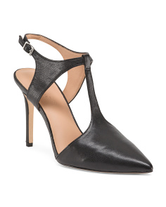 Leather T Strap Pointy Toe Pumps