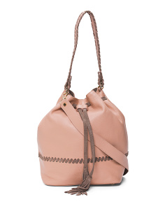 Made In Italy Whipstitch Leather Drawstring Bag