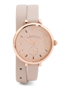 Women's Sally Floral Etched Dial Leather Double Strap Watch