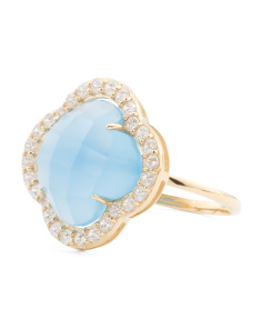 Made In Thailand 14k Gold Blue Agate And CZ Quatrefoil Ring