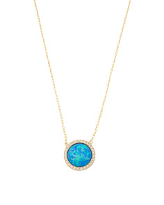 Made In Thailand 14k Gold Opal And CZ Halo Necklace