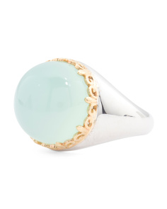 Made In Thailand Sterling Silver And 14k Gold Agate Ring