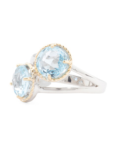 Made In Thailand Sterling Silver And 14k Gold Blue Topaz Ring
