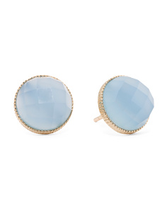 Made In Thailand 14k Gold Blue Agate Stud Earrings