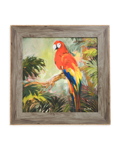 Tropical Parrot Painting In Wood Frame