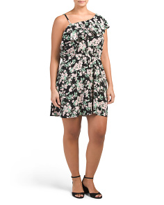 Plus Juniors One Shoulder Ruffle Floral Dress