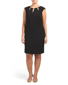 Plus Cut Out Neckline With Jewels Sheath Dress