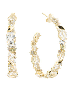 Made In Thailand 18k Gold Diamond Sapphire And Quartz Earrings